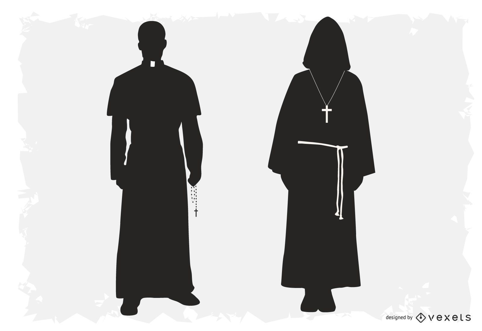 Sacerdote y monje silueta