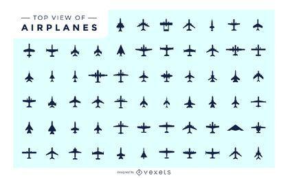 Draufsicht des Flugzeug-Satz-Schattenbildes