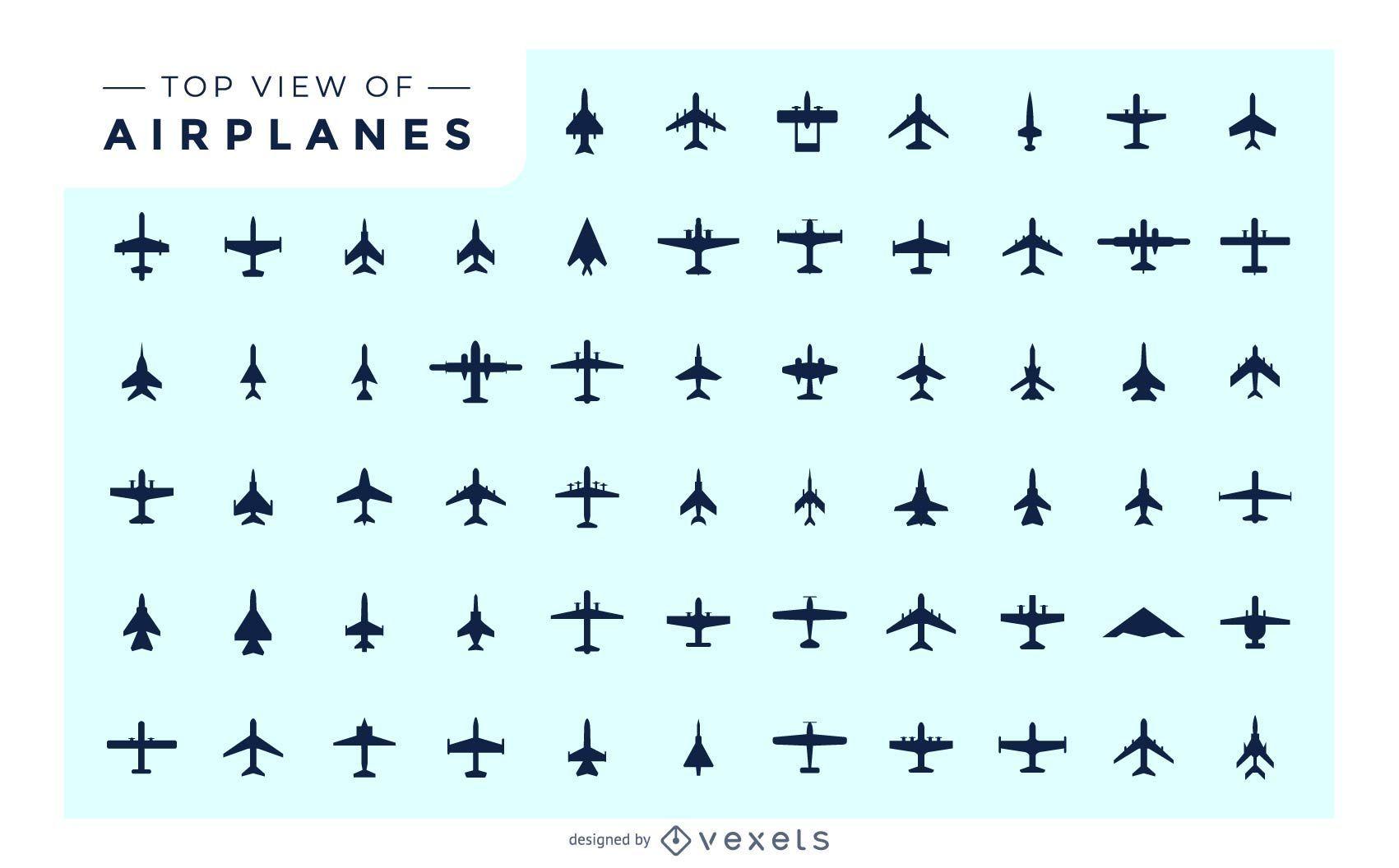 Vista superior de la silueta del paquete de avión