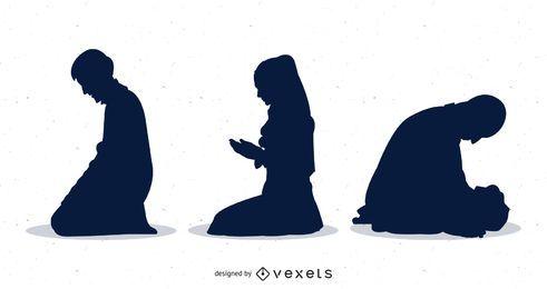 Pack de personas rezando silueta