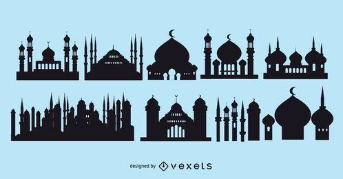 Paquete de silueta de la mezquita islámica