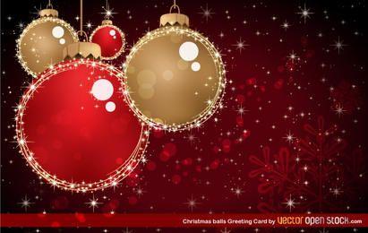 Cartão de saudação de bolas de Natal