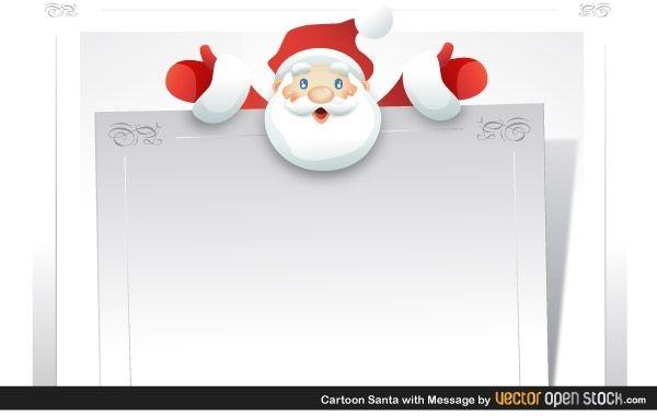 Cartoon Santa with message