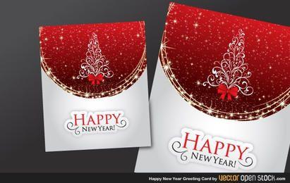 Feliz año nuevo y tarjeta de felicitación de navidad