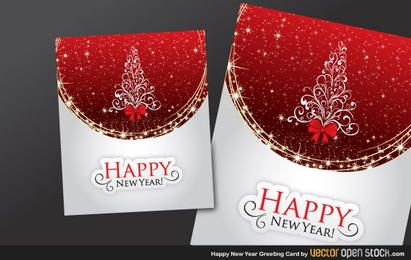 Happy new year and christmas greeting card