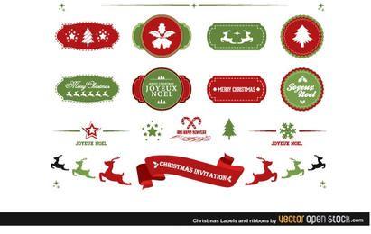 Etiquetas y cintas navideñas.