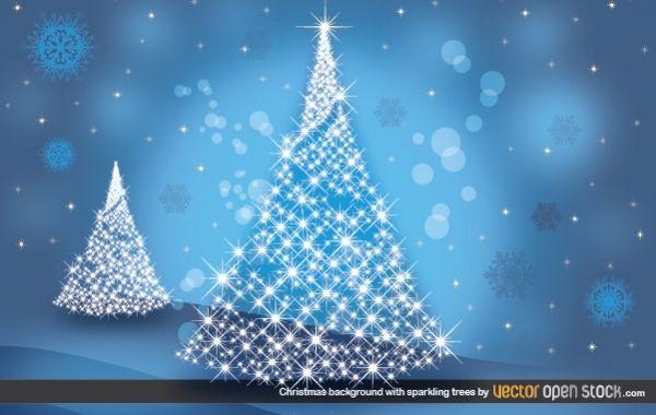 Weihnachtshintergrund mit funkelnden Bäumen