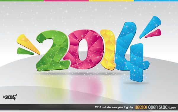 2014 buntes neues Jahr Logo