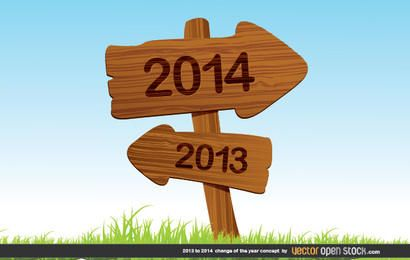 2013 to 2014 change of the year concept