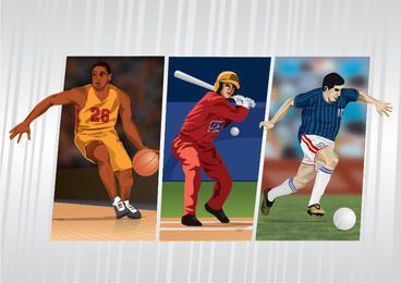 Sportler-Karten-Baseball-Basketball-Fußball