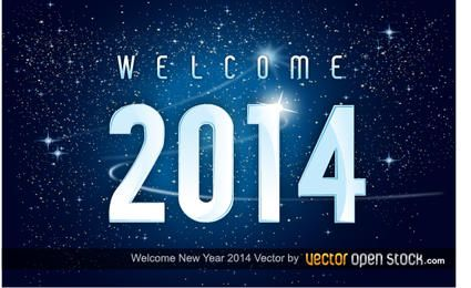 Bem-vindo novo ano 2014 no fundo do espaço
