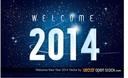 Bienvenido año nuevo 2014 en el fondo del espacio