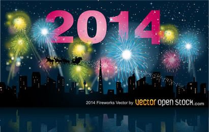 2014 año nuevo con horizonte de la ciudad