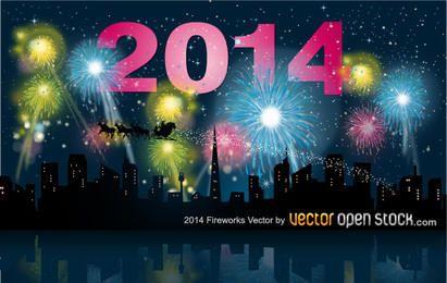 Fogos de artifício de 2014 com horizonte da cidade