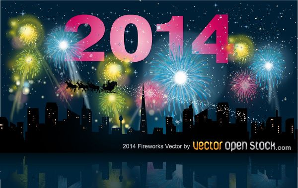 2014 new year with city skyline