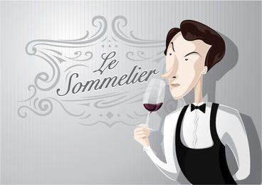 Sommelier cartoon cheirando a vinho