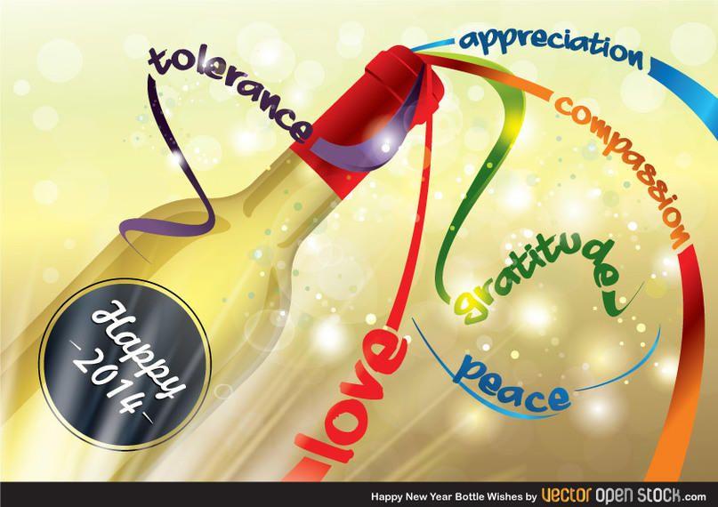 Frohes neues Jahr Flasche Wünsche