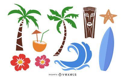 Conjunto de vectores de isla de verano
