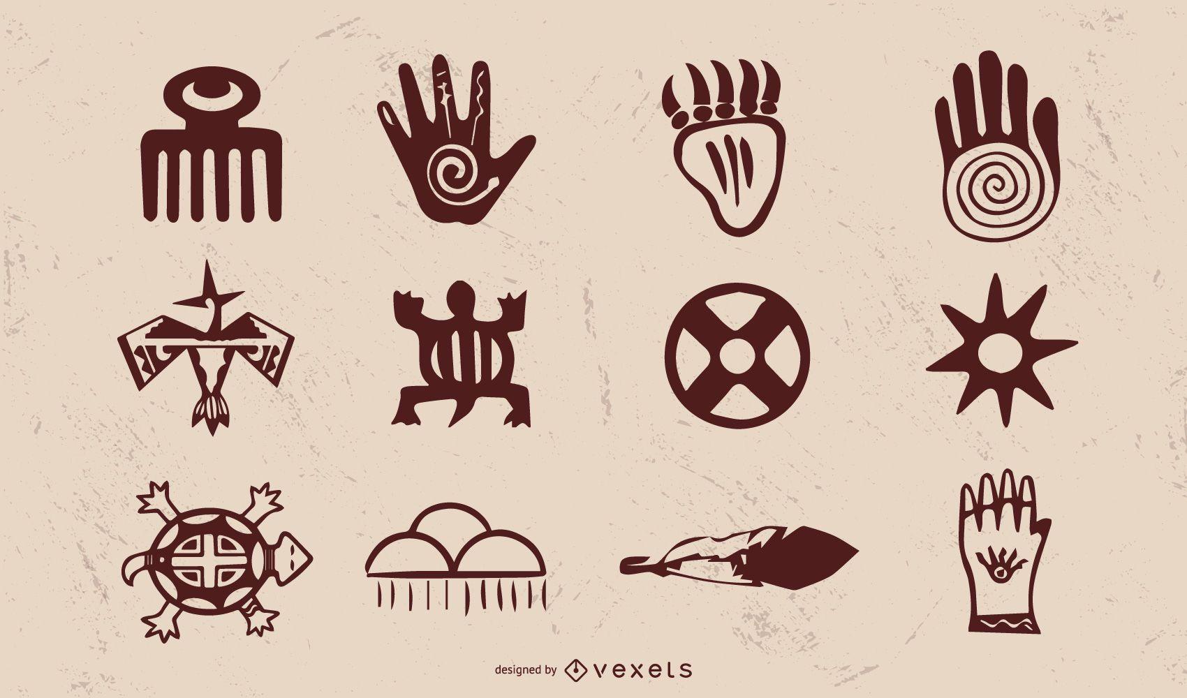 Paquete de objetos de nativos americanos vintage