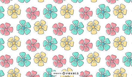 Fondo de pantalla de patrón de flores de crayón para niños