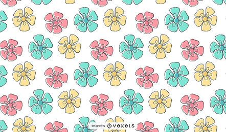 Kids Crayon Flower Pattern Wallpaper