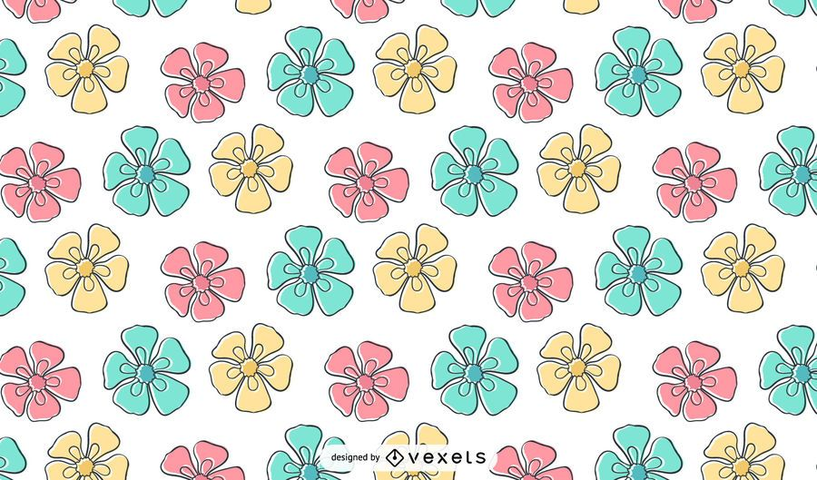 Papel pintado del patrón de flor de crayón para niños