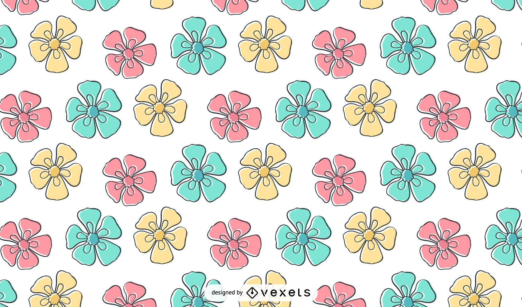 Kids Crayon Flower Pattern Wallpaper