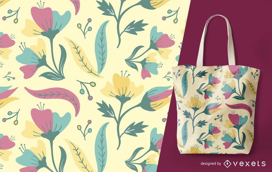 Patrón floral detallado de verano