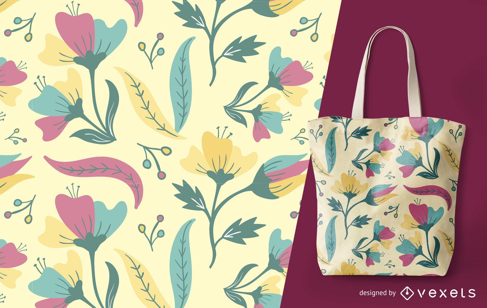 Patrón floral de verano detallado
