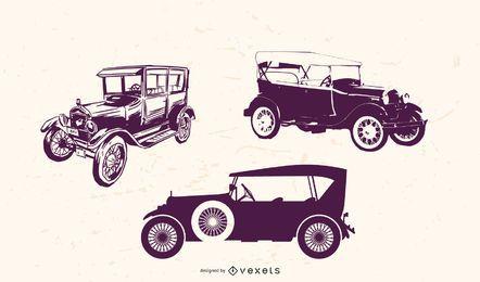Pacote de carros antigos de detalhe sujo