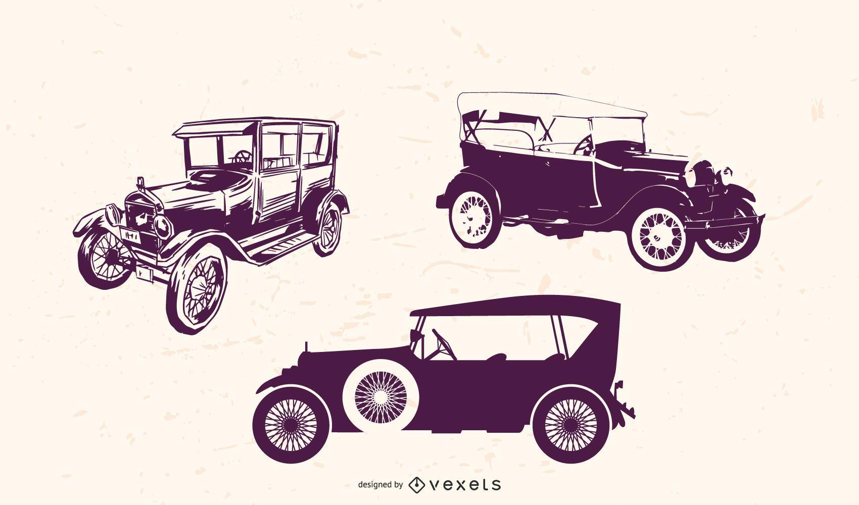 Paquete de autos antiguos con detalles grungy