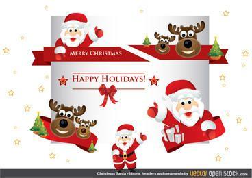 Cintas navideñas de santa, cabeceras y adornos.