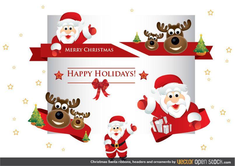 Navidad Santa cintas encabezados y adornos Descargar vector
