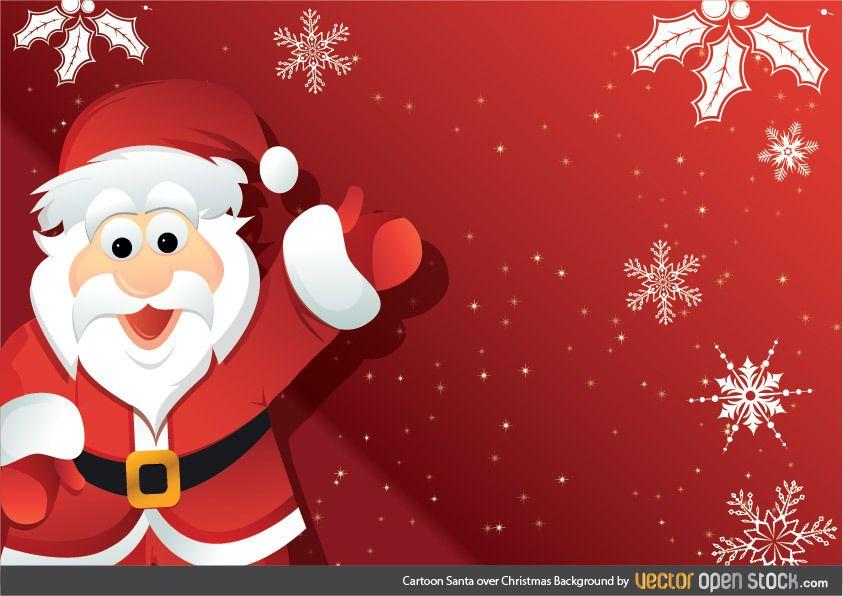 Cartoon Santa over Christmas Background