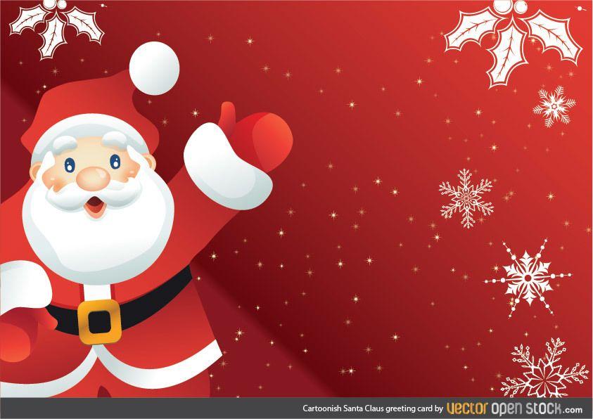 Tarjeta de felicitación de Santa Claus de dibujos animados