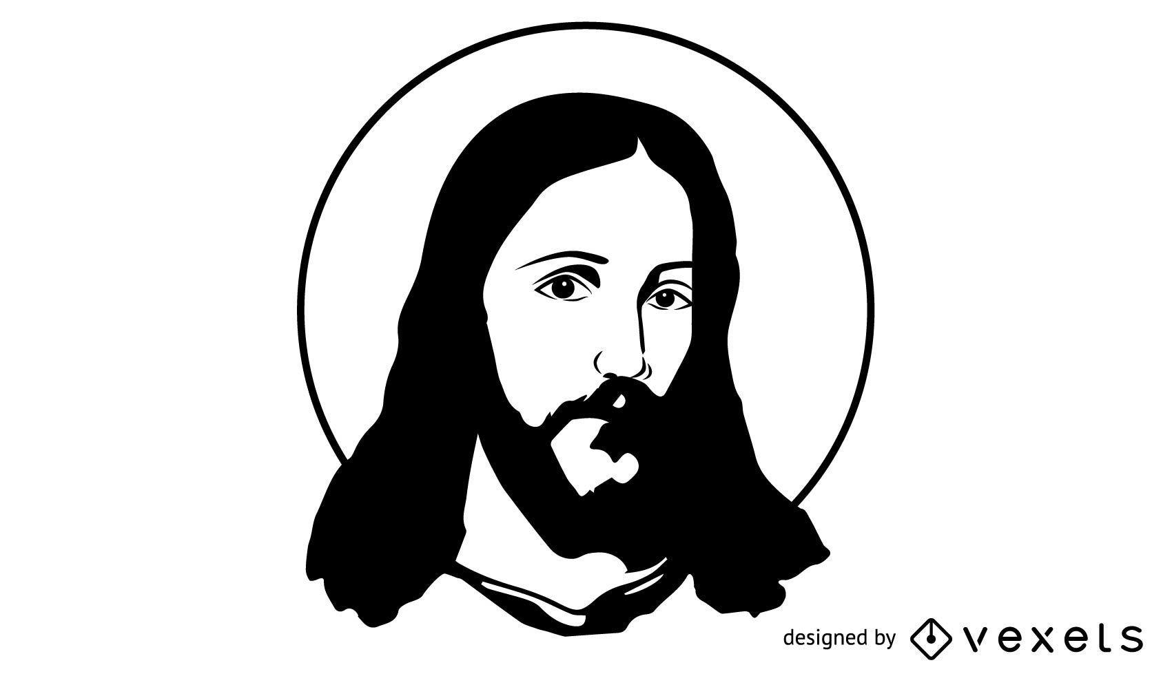 Jesucristo Artístico Blanco Y Negro Descargar Vector