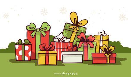 Ornamentos e Presentes de Natal 3D