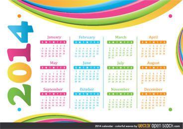 Calendário de 2014 - ondas coloridas