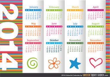 Calendário colorido de 2014