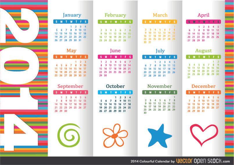 2014 Colourful Calendar