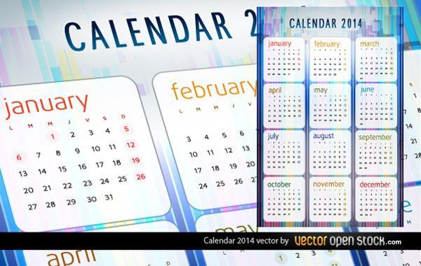 Vetor de calendário de 2014