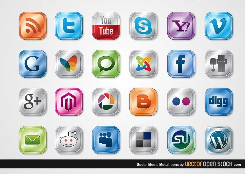 Ícones de metal de mídia social