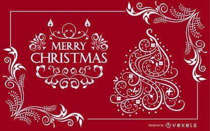 Diseño de tarjeta de Navidad ornamental Swirly
