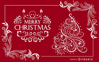 Swirly Ornamental diseño de tarjeta de Navidad