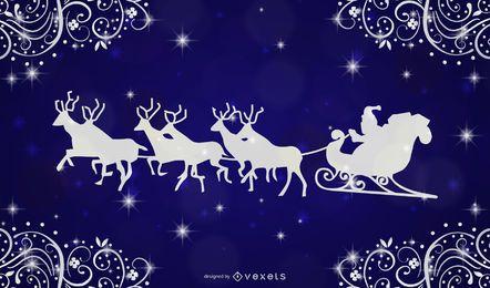 Diseño de tarjeta de Navidad Swirly Frame