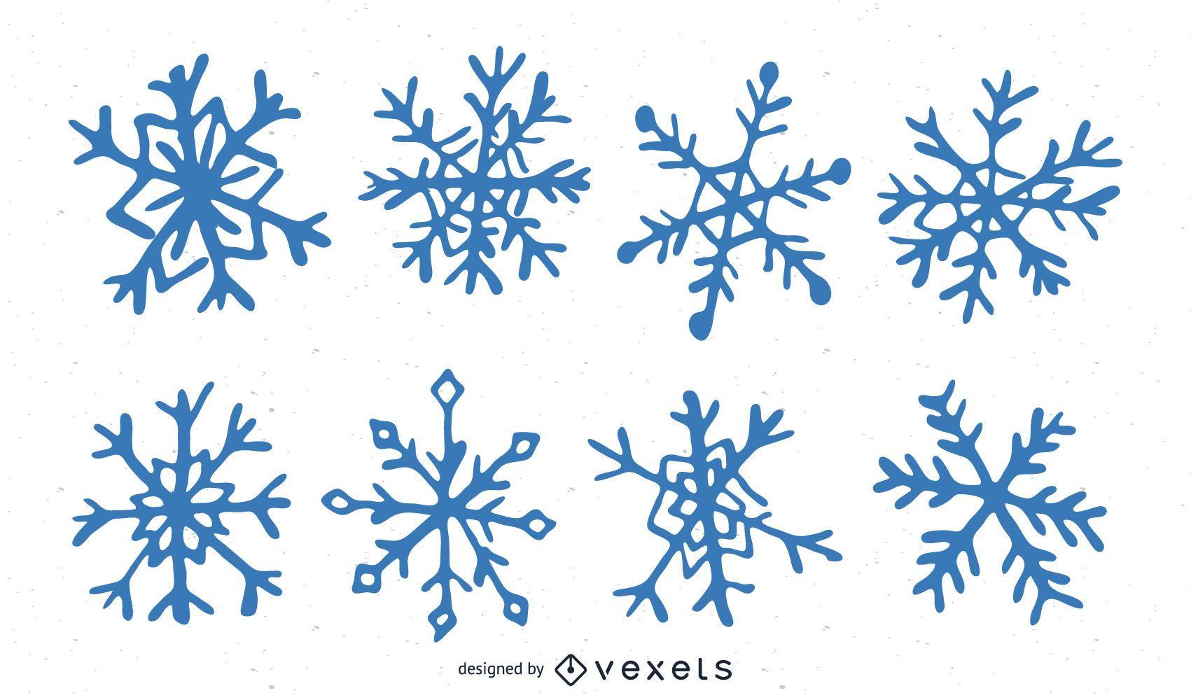 Paquete de copos de nieve dibujados a mano azul