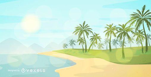 Imagem de praia de verão de vetor livre