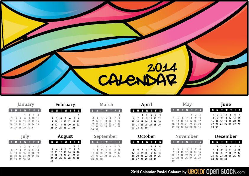Calendario 2014 Colores Pastel