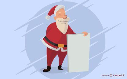 Dibujos animados de Santa con tablero vacío