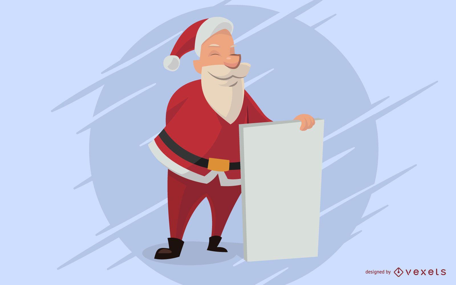 Santa Cartoon Holding Empty Board